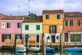 Colourful Houses Homes Boats Venice Murano