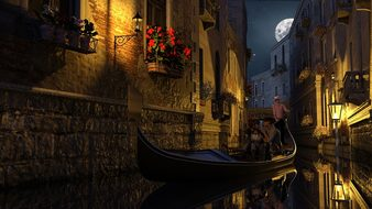 Venice, Gondola, Midnight, In Love