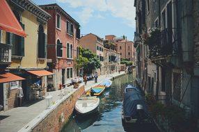 Canal Venice Italy Boats Cityscape Archite