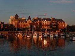 Victoria, Harbor, Empress Hotel, Evening