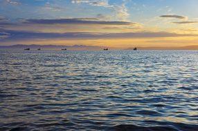 Ocean, Sunset, Shipping, Vladivostok