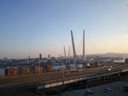 City Vladivostok Bridge Road Russia Sky Vl